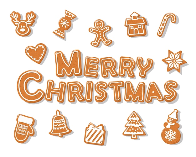 Frohe weihnachten-lebkuchen-plätzchenhand gezeichnete buchstaben.