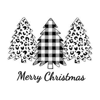 Frohe weihnachten leopardenmuster und buffalo plaid ornament weihnachtsbäume winterwald