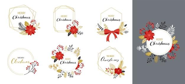 Frohe weihnachten logos, handgezeichnete elegante, zarte monogramme lokalisiert auf weiß