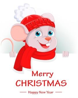 Frohe weihnachten, lustige zeichentrickfilm-figurmaus