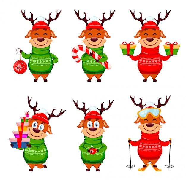 Frohe weihnachten, lustiges ren, satz von sechs haltungen
