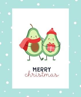 Frohe weihnachten mit avocado-paar, das sich umarmt.