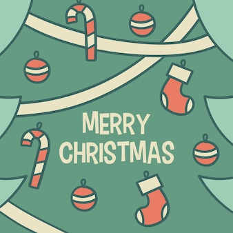 Frohe weihnachten mit baum und socken