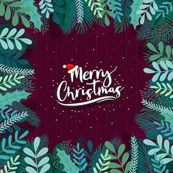 Frohe weihnachten mit blättern auf lila