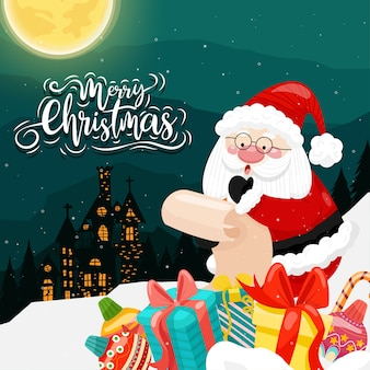 Frohe weihnachten mit dem weihnachtsmann und verschiedenen geschenkboxen auf dem schnee mit haus und mond