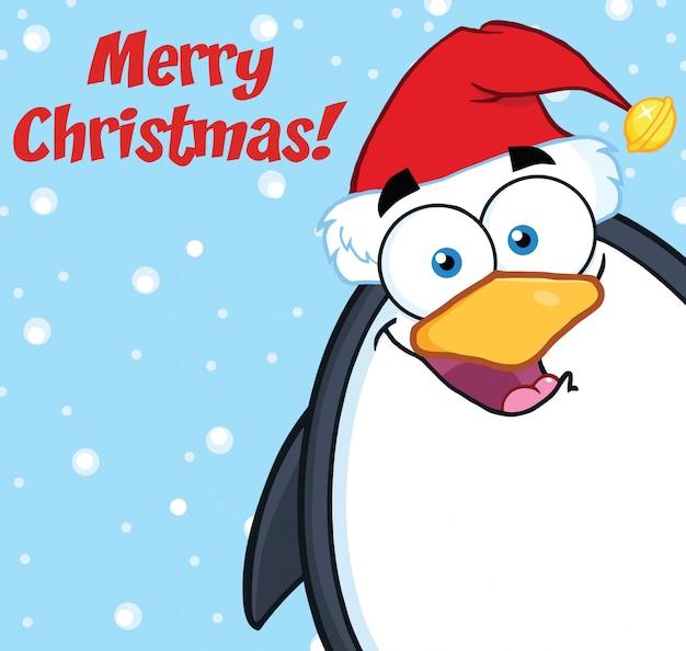 Frohe weihnachten mit der niedlichen pinguin-zeichentrickfilm-figur, die von einer ecke schaut
