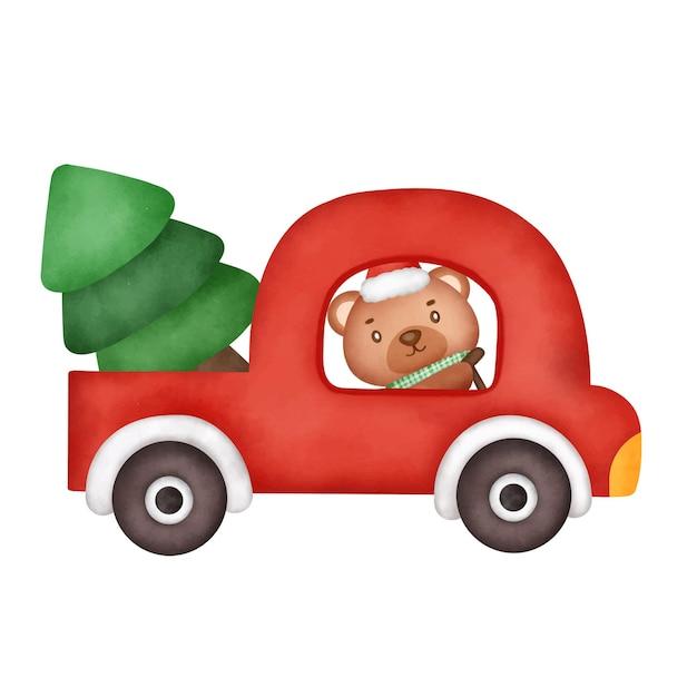Frohe weihnachten mit einem süßen bären beim autofahren