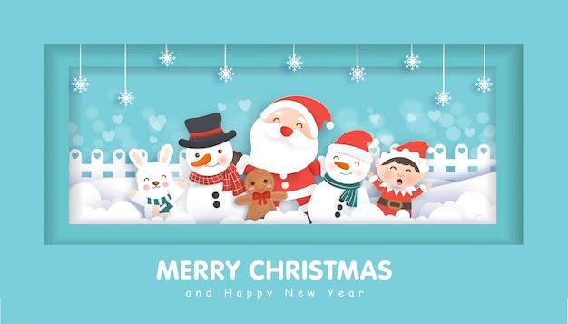 Frohe weihnachten mit einem weihnachtsmann und freunden für weihnachtshintergrund, illustration im papierschnitt und im handwerksstil.