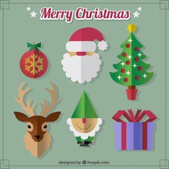 Frohe weihnachten mit fantastischen flachen gegenständen