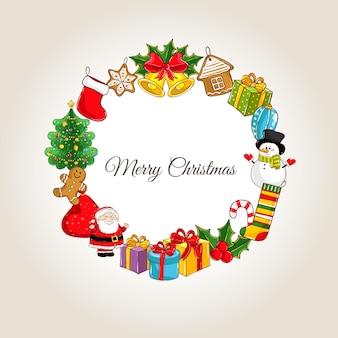 Frohe weihnachten mit feiertagsattributen