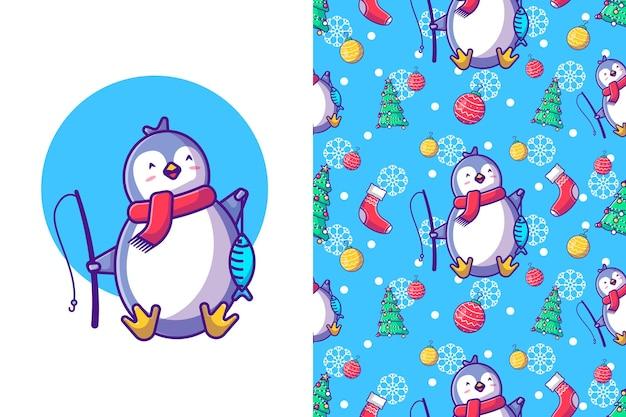 Frohe weihnachten mit glücklichem pinguin und fisch im nahtlosen muster des winters
