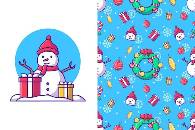 Frohe weihnachten mit glücklichem schneemann im nahtlosen muster des winters