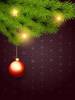 Frohe weihnachten mit hängendem ball