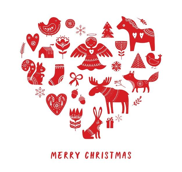 Frohe weihnachten mit handgezeichneten skandinaviern