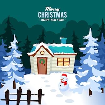 Frohe weihnachten mit holzhaus und schneemann
