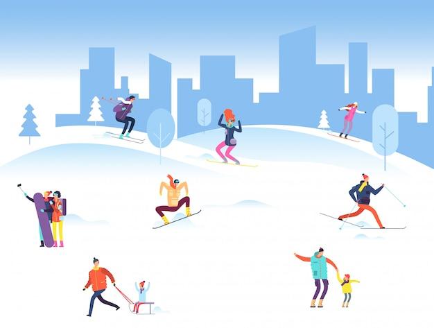 Frohe weihnachten mit leuten im winterpark. familie, erwachsene und kinder snowboarden und skifahren im freien. illustration