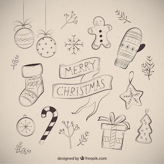 Frohe weihnachten mit mehreren zeichnungen
