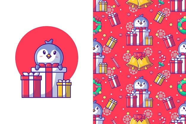 Frohe weihnachten mit nahtlosem muster des glücklichen pinguins und der geschenkbox