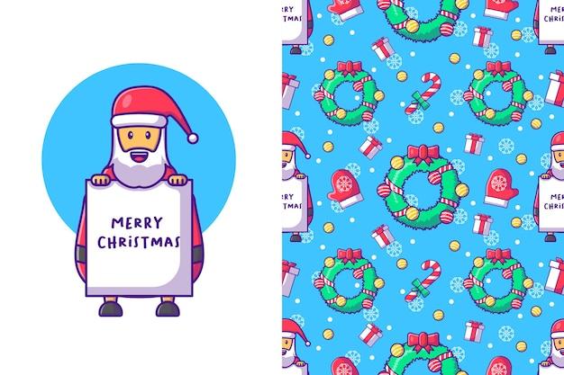 Frohe weihnachten mit nahtlosem muster des glücklichen weihnachtsmannes