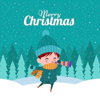 Frohe weihnachten mit nettem kawaii hand gezeichnetem jungen mit einem rohr