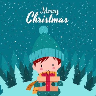 Frohe weihnachten mit netter kawaii hand gezeichnetem jungen-tragendem winter-kostüm