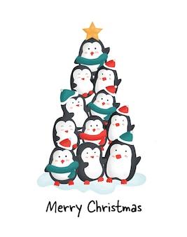 Frohe weihnachten mit niedlichen pinguinen.