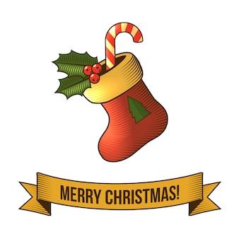 Frohe weihnachten mit retro- illustration der socke
