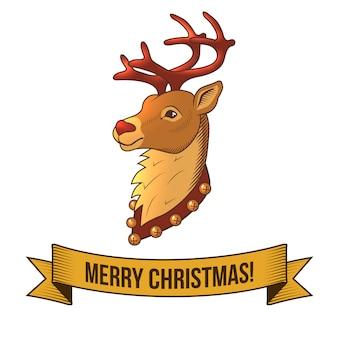 Frohe weihnachten mit retro- illustration des rotwildkopfes