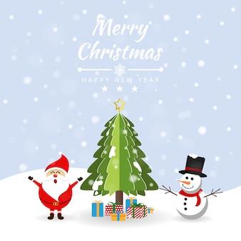 Frohe weihnachten mit sankt, geschenkbox und schneemann am schnee. broschüre, karte, fahnen-vektorillustration