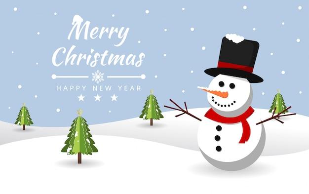 Frohe weihnachten mit schneemann am schnee
