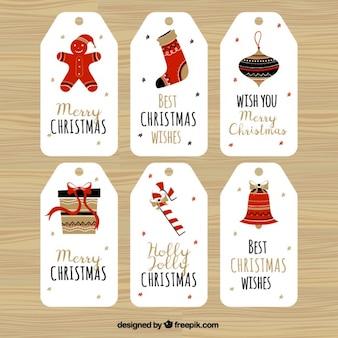 Frohe weihnachten mit sechs super etiketten