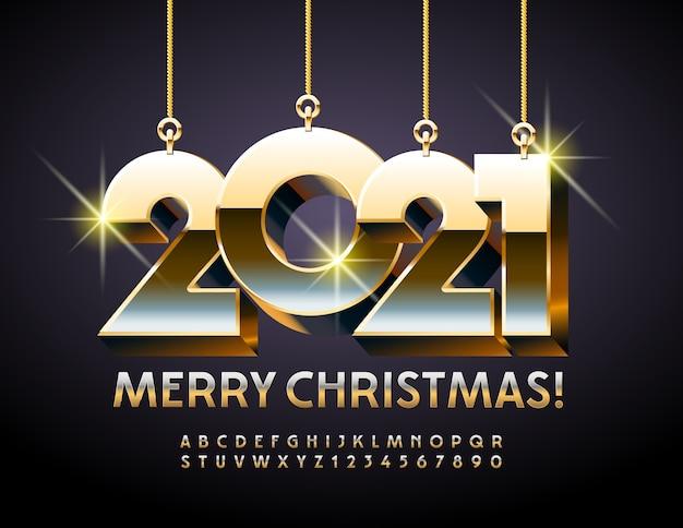 Frohe weihnachten mit spielzeug 2021. schicke schrift. 3d gold alphabet buchstaben und zahlen