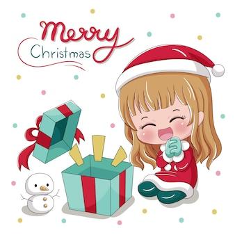 Frohe weihnachten mit süßem mädchen