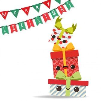 Frohe weihnachten mit turm von geschenkboxen und parteiflaggen.