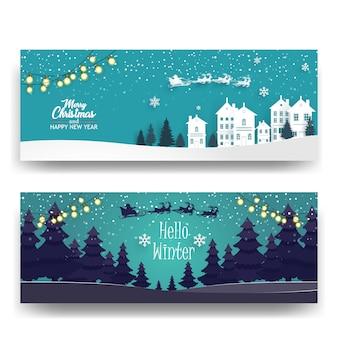 Frohe weihnachten mit wald und häuser hintergrund