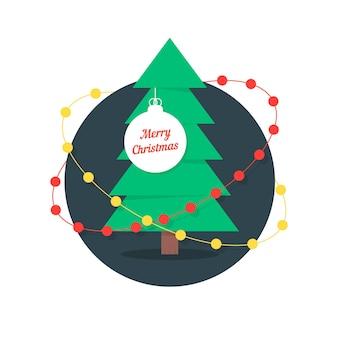 Frohe weihnachten mit weihnachtsbaum und girlanden. konzept der pelzbaum-zweig, weihnachtsbaum-vorlage, traditionsspielzeug. isoliert auf weißem hintergrund. flacher stil trend moderne logo-design-vektor-illustration