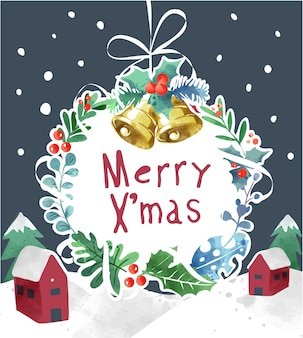 Frohe weihnachten mit weihnachtskranz auf schneebedecktem hintergrund