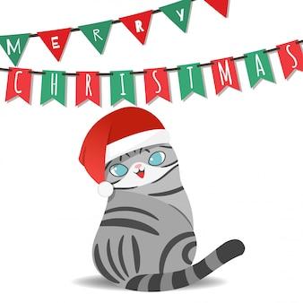 Frohe weihnachten mit weihnachtsmann-kostümkatze.