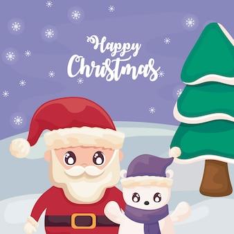 Frohe weihnachten mit weihnachtsmann und eisbär