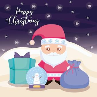 Frohe weihnachten mit weihnachtsmann und geschenkboxen auf winterlandschaft