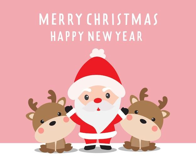 Frohe weihnachten mit weihnachtsmann und süßem rentier
