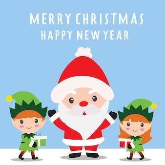 Frohe weihnachten mit weihnachtsmann und süßen elfen