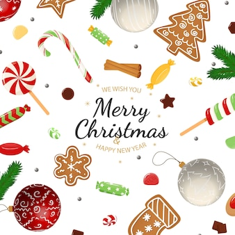 Frohe weihnachten mit winterelementen