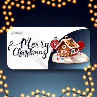 Frohe weihnachten, moderne postkarte mit abgerundeten ecken, schöner schrift und weihnachtslebkuchenhaus