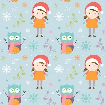 Frohe weihnachten muster mit niedlichen charakteren