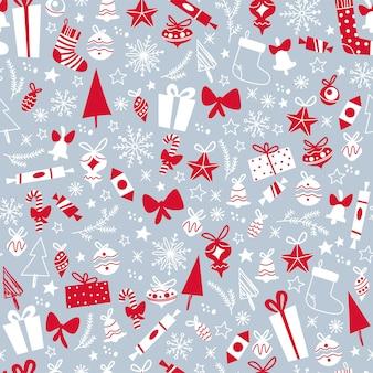 Frohe weihnachten nahtlose musterdesign mit geschenken, tannen, spielzeug, schneeflocken. flache vektorgrafik. für karten, banner, drucke, verpackungen, einladungen.
