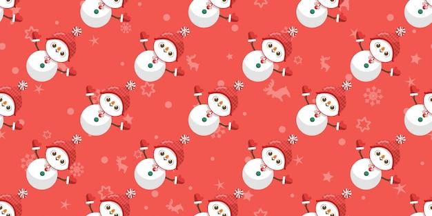 Frohe weihnachten, nahtloses muster des schneemannes.