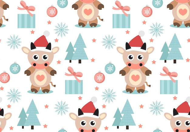 Frohe weihnachten nahtloses muster. netter stier in einem hut des weihnachtsmannes, schneeflocken endloser texturhintergrund. vektorillustration.
