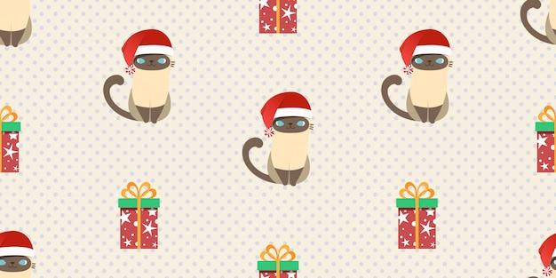 Frohe weihnachten, nahtloses muster weihnachtsmann-katze.