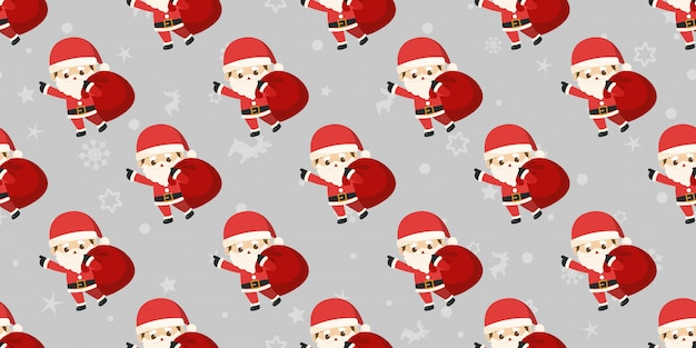 Frohe weihnachten, nahtloses muster weihnachtsmanns.